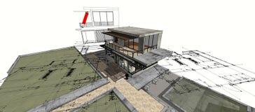 белизна изолированная домом имущество принципиальной схемы реальное 3d Стоковое Изображение RF