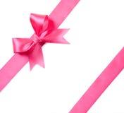 белизна изолированная смычком розовая Стоковые Фотографии RF