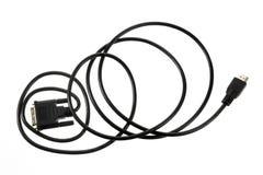 белизна изоляции компьютера кабеля Стоковая Фотография