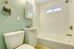 Белизна и интерьер ванной комнаты мяты Стоковое Изображение