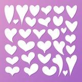 белизна иллюстрации икон сердца предпосылки Плоский дизайн иллюстрация вектора