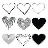 белизна иллюстрации икон сердца предпосылки Стоковое Изображение