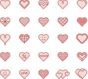 белизна иллюстрации икон сердца предпосылки Стоковое фото RF