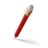 белизна карандаша предпосылки изолированная истирателем красная Стоковое фото RF