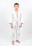 белизна кимоно карате бой мальчика Стоковое фото RF