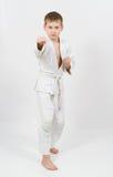 белизна кимоно карате бой мальчика Стоковые Изображения