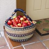 белизна корзины предпосылки яблок свежая красная Стоковая Фотография RF