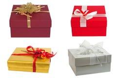 белизна коробки изолированная подарком Комплект стоковое изображение