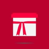 белизна коробки изолированная подарком С тенью на розовой предпосылке Стоковое Изображение