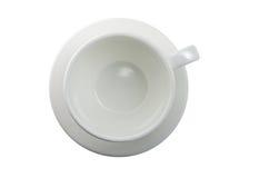 белизна кофейной чашки Изолированное взгляд сверху, стоковая фотография rf