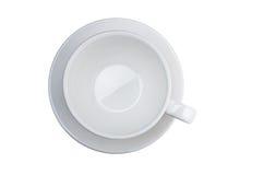 белизна кофейной чашки Изолированное взгляд сверху, стоковое изображение rf