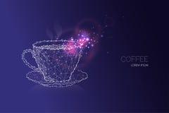 белизна кофейной чашки небо звездной ночи и линия дизайн точки Стоковое Фото