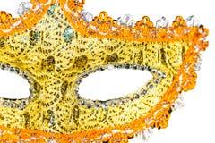 белизна маски масленицы предпосылки золотистая Стоковая Фотография