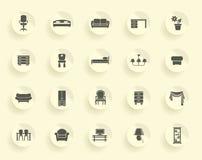 белизна мебели предпосылки изолированная иконой установленная Стоковая Фотография RF