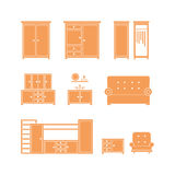 белизна мебели предпосылки изолированная иконой установленная Стоковые Фотографии RF