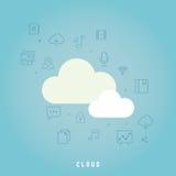 белизна модели иконы облака 3d Стоковые Изображения