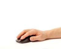 белизна мыши компьютера предпосылки изолированная рукой Стоковые Изображения
