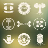 Белизна логотипа перекрестной тренировки и СПОРТЗАЛА иллюстрация вектора