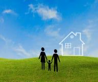 белизна дома семьи предпосылки 3d изолированная иллюстрацией Стоковое Фото