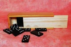 белизна домино предпосылки изолированная игрой Стоковые Изображения