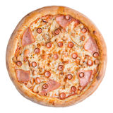 белизна пиццы pepperoni кухни предпосылки итальянская Это изображение совершенно для вас для того чтобы конструировать ваши меню  Стоковое Изображение