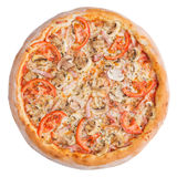 белизна пиццы pepperoni кухни предпосылки итальянская Это изображение совершенно для вас для того чтобы конструировать ваши меню  Стоковая Фотография RF