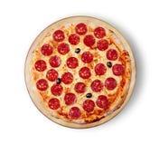 белизна пиццы pepperoni кухни предпосылки итальянская Стоковые Изображения