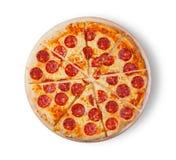 белизна пиццы pepperoni кухни предпосылки итальянская Стоковое Фото