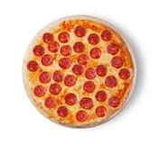 белизна пиццы pepperoni кухни предпосылки итальянская Стоковое Изображение