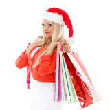 белизна покупкы сбывания девушки рождества предпосылки счастливая Стоковые Изображения