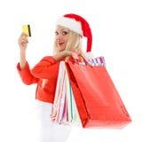 белизна покупкы сбывания девушки рождества предпосылки счастливая Стоковое Изображение