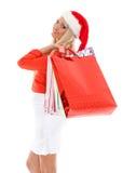 белизна покупкы сбывания девушки рождества предпосылки счастливая Стоковая Фотография