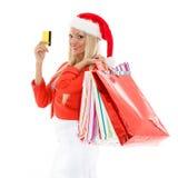 белизна покупкы сбывания девушки рождества предпосылки счастливая Стоковая Фотография RF