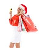 белизна покупкы сбывания девушки рождества предпосылки счастливая Стоковые Изображения RF