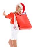 белизна покупкы сбывания девушки рождества предпосылки счастливая Стоковое Изображение RF