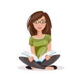 белизна предпосылки изолированная девушкой читая также вектор иллюстрации притяжки corel Стоковое Изображение RF