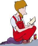белизна предпосылки изолированная девушкой читая иллюстрация вектора