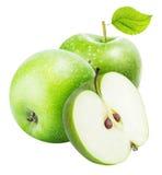 белизна предпосылки яблок изолированная зеленым цветом Стоковая Фотография
