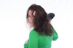 белизна путя более сухих волос предпосылки закрепляя изолированная стоковые фото