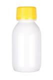 белизна путя микстуры крышки ярлыка пустого клиппирования коричневого цвета бутылки 100ml childproof стеклянная включенная изолир Стоковое Изображение RF