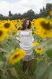 Белизна платья женщины Стоковое Изображение