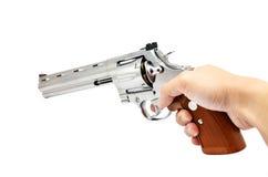 белизна руки пушки предпосылки изолированная удерживанием Стоковая Фотография