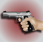 белизна руки пушки предпосылки изолированная удерживанием стоковые фото