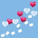 Белизна сердец желаний воздушных шаров витая розовая Стоковое Фото