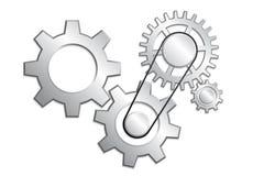белизна системы иллюстрации шестерни предпосылки 3d Стоковые Изображения RF