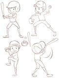 белизна силуэта бейсболистов предпосылки Стоковая Фотография RF