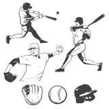 белизна силуэта бейсболистов предпосылки Стоковые Изображения RF