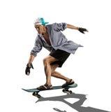 Белизна старика катаясь на коньках стоковые изображения rf