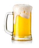 белизна стекла пива изолированная Стоковая Фотография RF