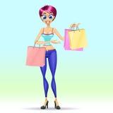 белизна студии съемки покупкы девушки предпосылки Стоковое Изображение